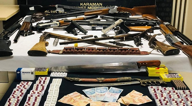 Karaman'da silah ve uyuşturucudan 9 kişi adliyeye sevk edildi