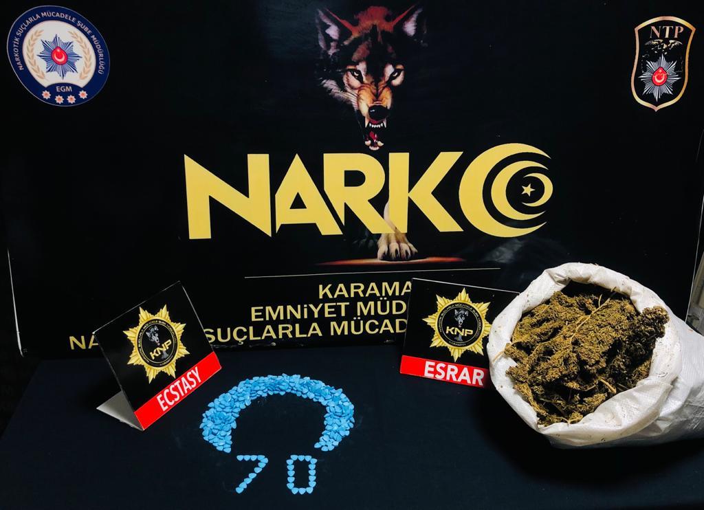 Karamanda uyuşturucu operasyonu 4 şüpheliden 1'i tutuklandı